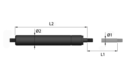 Technický výkres - Tažné plynové vzpěry
