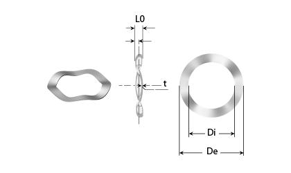 Technický výkres - Pružné podložky se 3 vlnami
