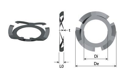 Technický výkres - Palcové pružné podložky